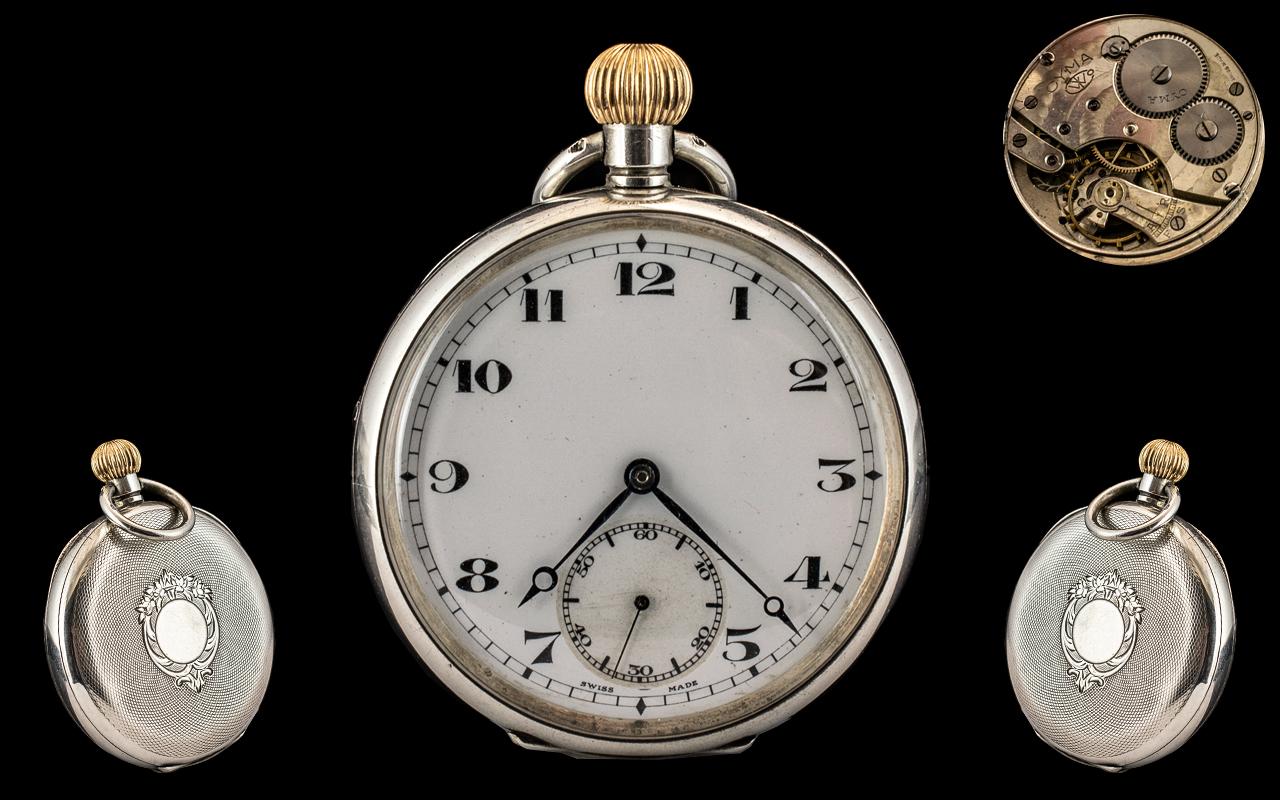Cyma Watch Co Swiss Made Keyless Silver Open Faced Pocket Watch.