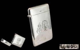 Edwardian Period - Gents Large Sterling Silver Hinged Card Case,