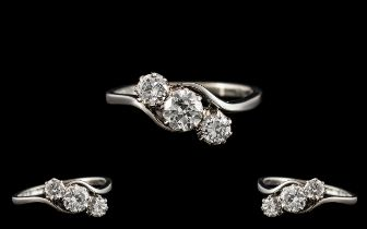 Art Deco Period Platinum - Attractive and Excellent Quality 3 Stone Diamond Set Dress Ring.