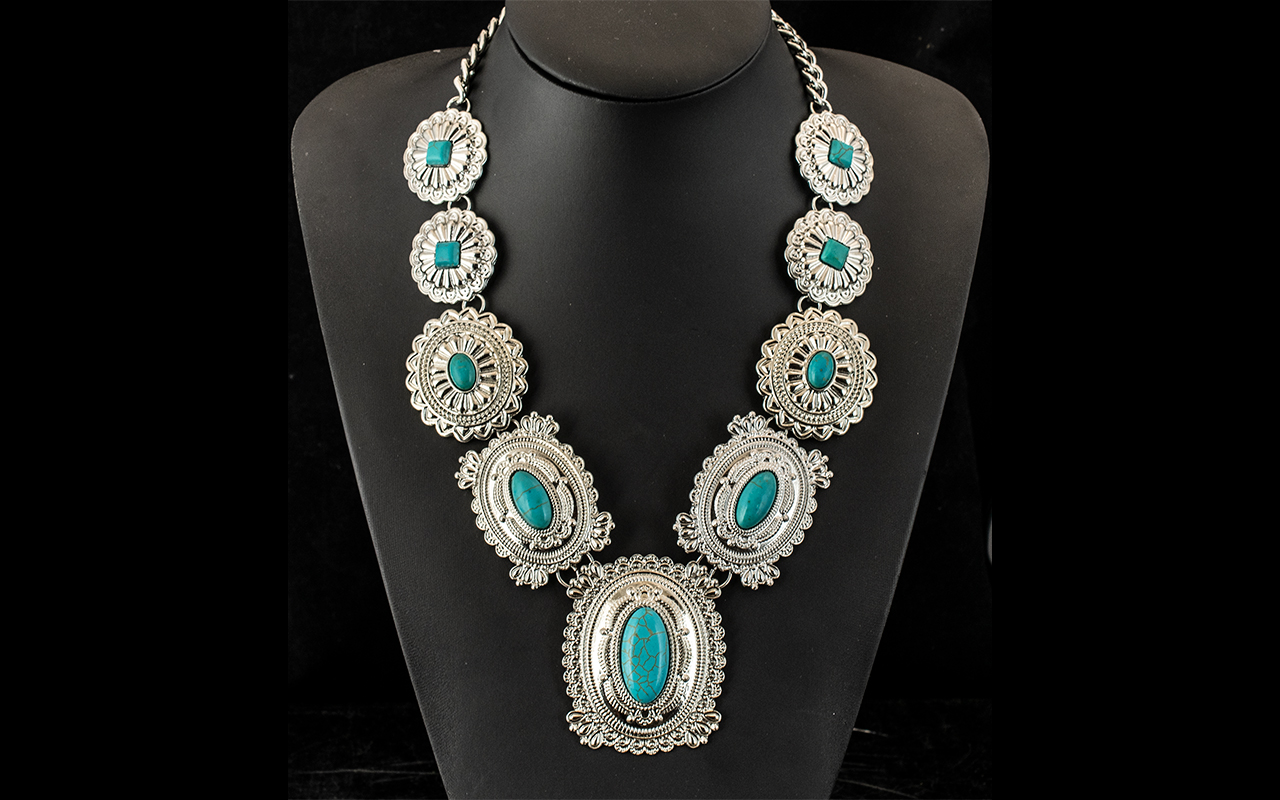 Turquoise Howlite 'Tribal' Statement Necklace, large, graduated,
