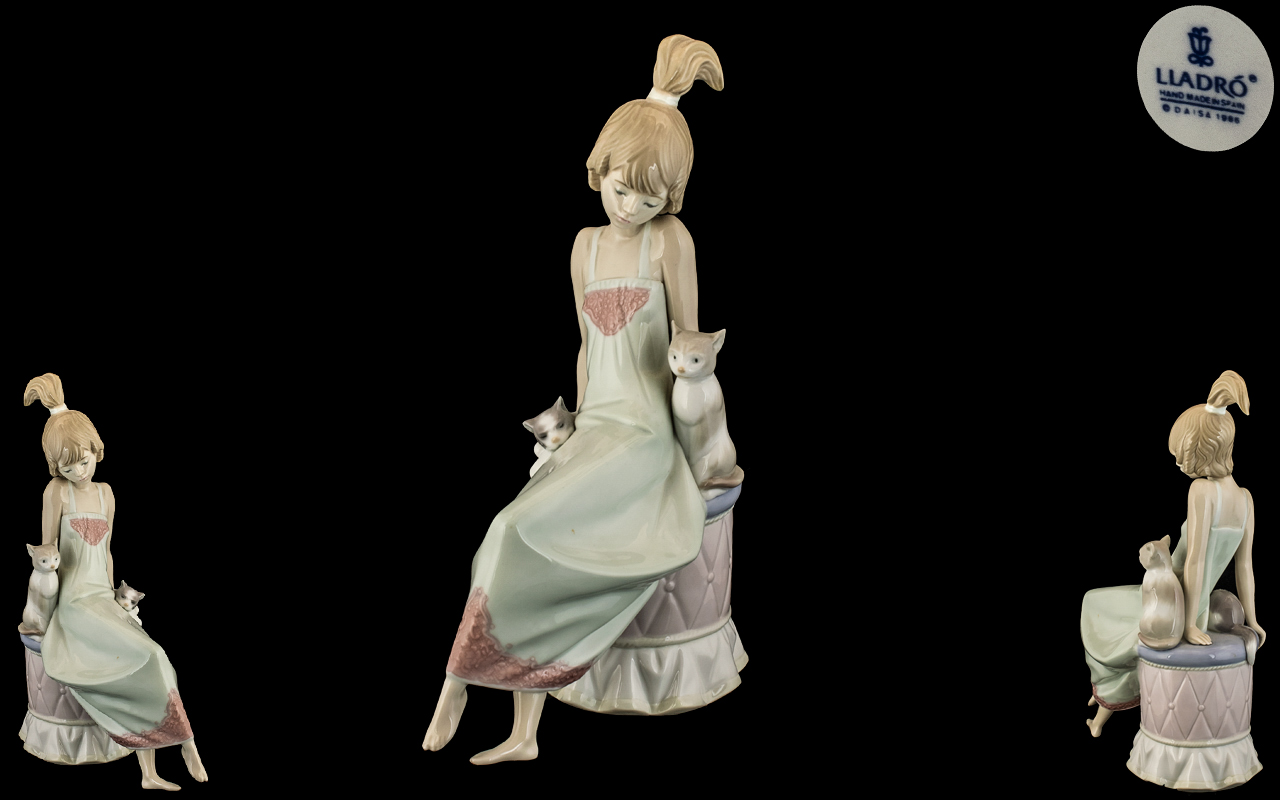 Lladro - Hand Painted Porcelain Figure ' Bedtime - Girl with Kittens ' Model No 5443.