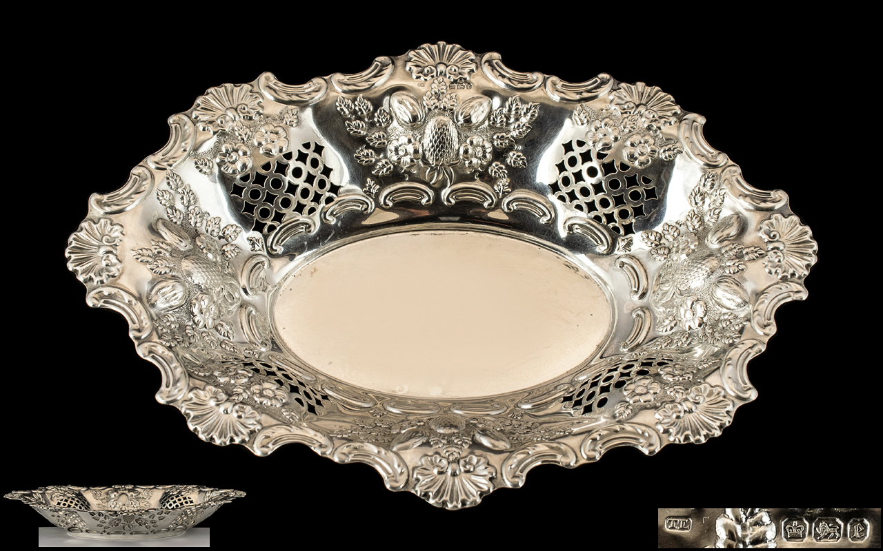 Victorian Period Sterling Silver Ornate / Embossed Fruits Dish / Bowl with Extensive Embossed