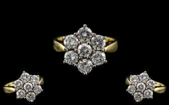 18ct Gold - Attractive 7 Stone Diamond Set Cluster Ring - Flower head Design.