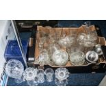 Large Collection of Glass, including a Royal Doulton two-part vase, crystal candle holders,