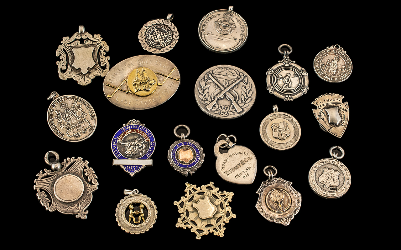 Excellent Collection of Assorted Sterling Silver Medals - Various Subjects ( 8 ) Medals In Total.