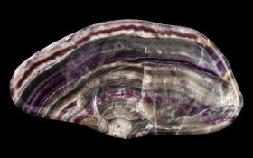 Antique 'Blue John Grotto Root' Based Low Table, the fluorite slab top shaped as a low bowl of