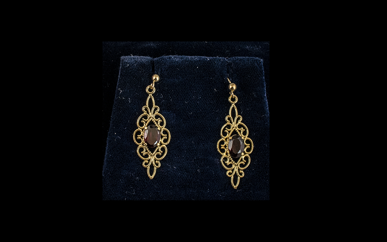 9ct Gold Ruby/Garnet Set Earrings, large drops of ornate, fancy design,