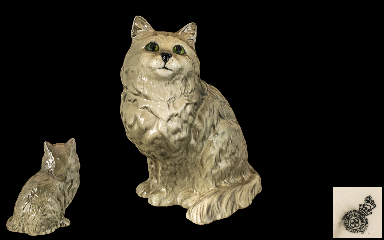 Royal Doulton Large Hand Painted Cat Figure ' Persian Cat ' Seated Looking Up. Model No 1867.