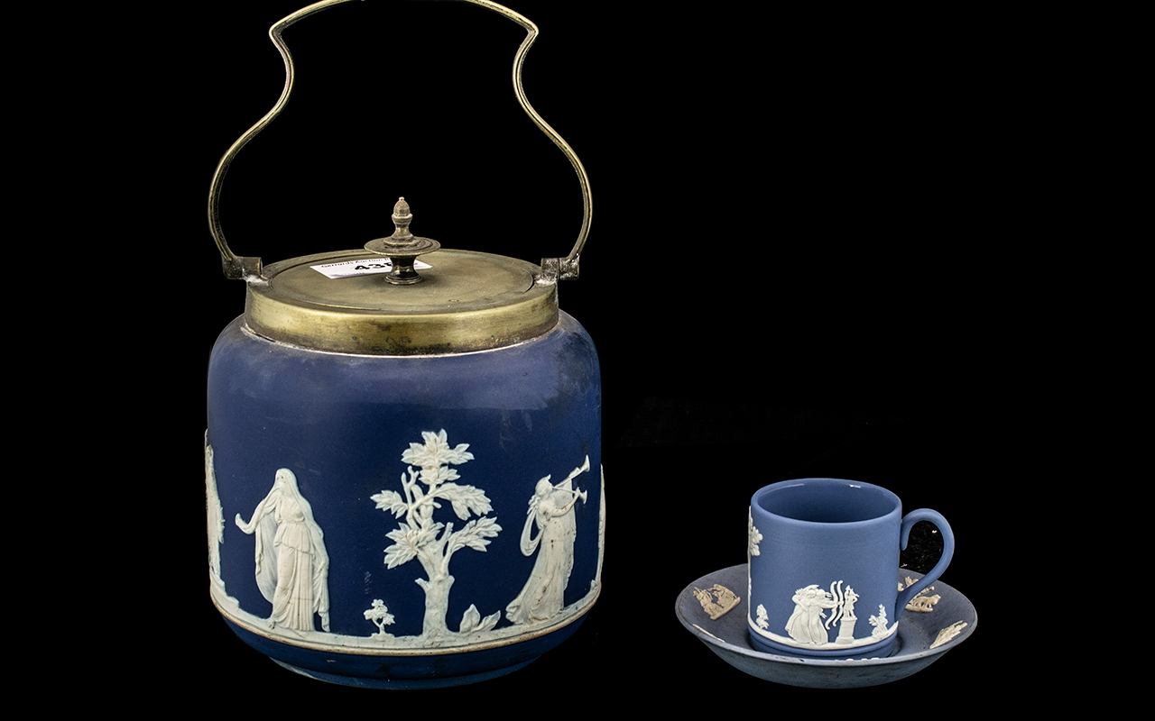 Adams Ware / Jasper Ware Biscuit Barrel with EPNS Handle and Lid, with a Wedgwood Blue and White Cup