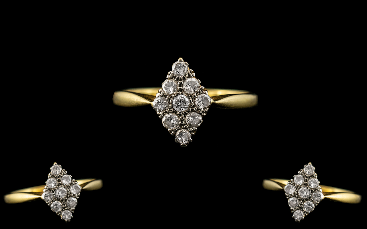 18ct Gold and Platinum Attractive Diamond Set Cluster Ring. Marked 18ct and Platinum to Interior