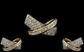 Ladies - Superb Designer Diamond Set Dress Ring, Set with High Grade Modern Round Brilliant Cut