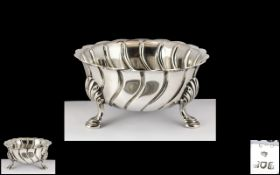 Edwardian Period Superior Quality Sterling Silver 3 Footed Fluted Bowl of Small Proportions.