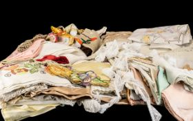 Large Box of Vintage Embroidery, Doilies and Lace.