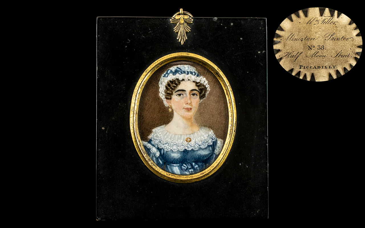 19th Century Oval Miniature Portrait of a lady in a blue dress,