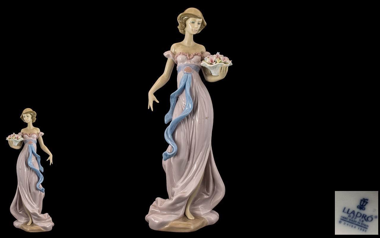 Lladro - Superb Hand Painted Porcelain Figure ' Spring Flirtation ' Model No 6365. Issued 1997.