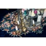A Heavy Brass Reproduction Dutch Style Three Armed Chandelier in the traditional style, electrified.