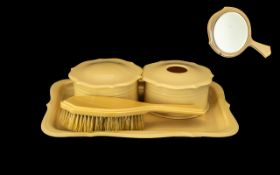 Acwalite French 1930s Design Dressing Table Set, comprising an 11'' x 8'' tray; a round trinket box;