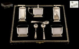 Art Deco Period Superior Quality Sterling Silver ( 5 ) Piece Cruet Set, Of Pleasing Proportions