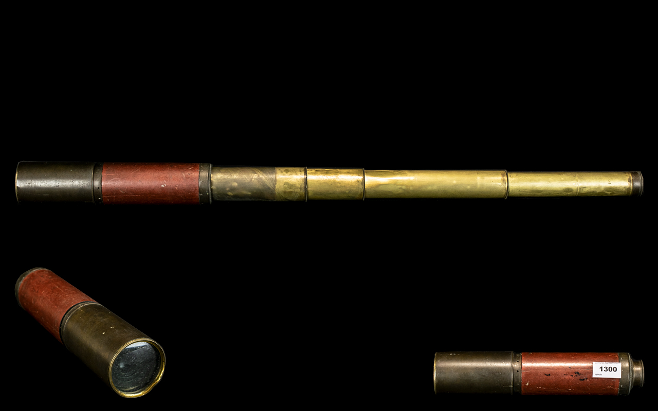 5 Draw Antique Telescope, Engraved Makers Name to the Casing - Dollond London. Overall Extended