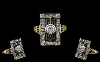 Art Deco Period - Attractive 18ct Yellow Gold and Platinum Diamond Set Dress Ring.