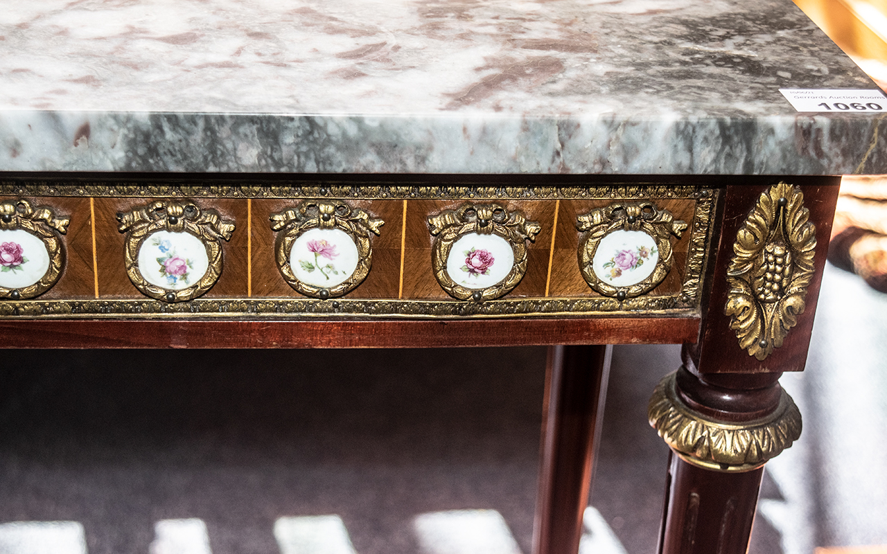 A French Marble Top Reproduction Console Table with ormolu mounted porcelain plaques applied to the - Image 2 of 2