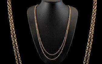 Victorian Period - Attractive 9ct Gold Muff Chain, Diamond Cut Belcher Design, Marked 9ct.