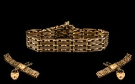 Antique Period Superb Quality 15ct Gold Bracelet with Safety Chain and Heart Shaped Padlock.