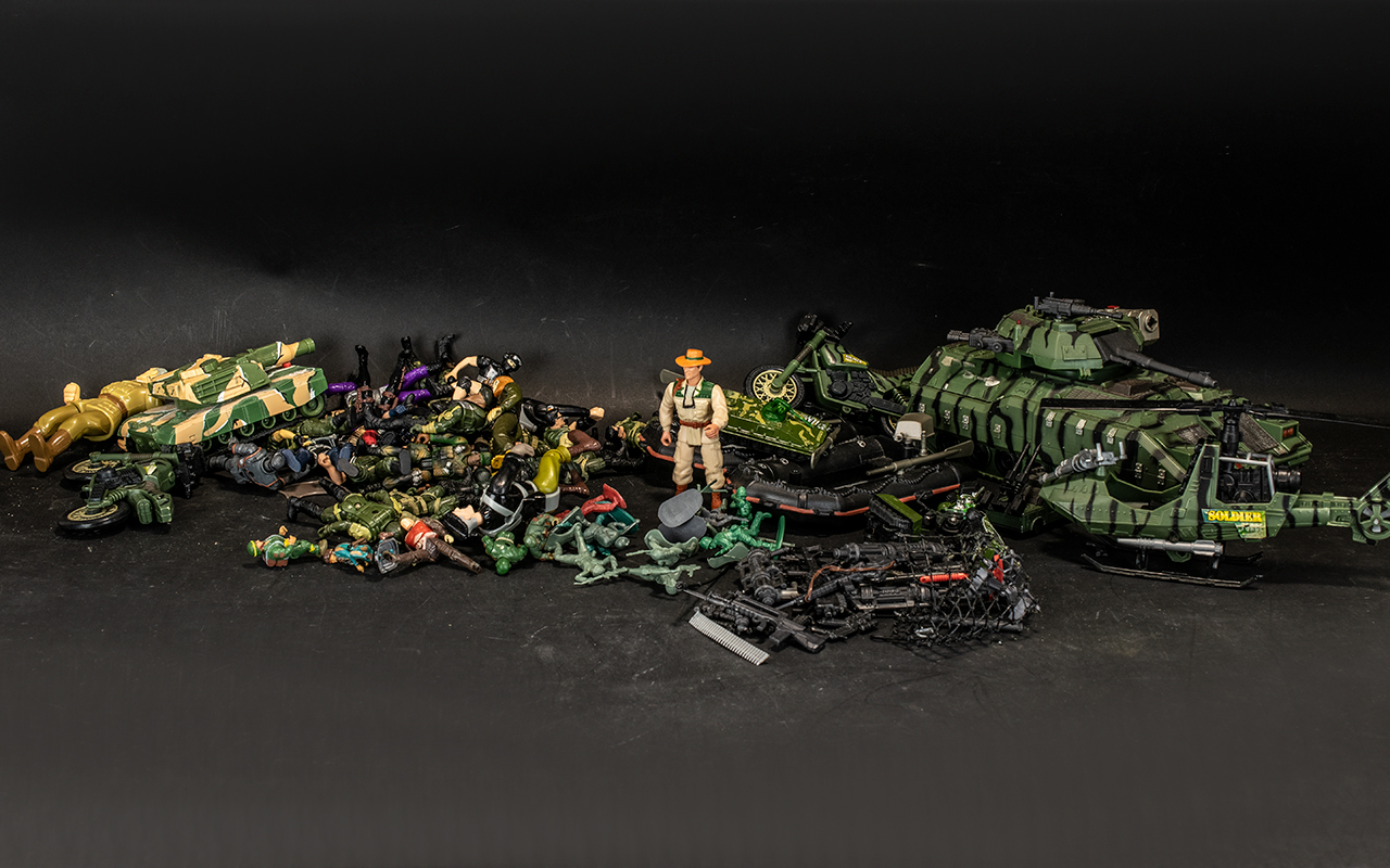 Box of Toy Soldier Figures together with a helicopter, tanks, motorbikes, dinghies,