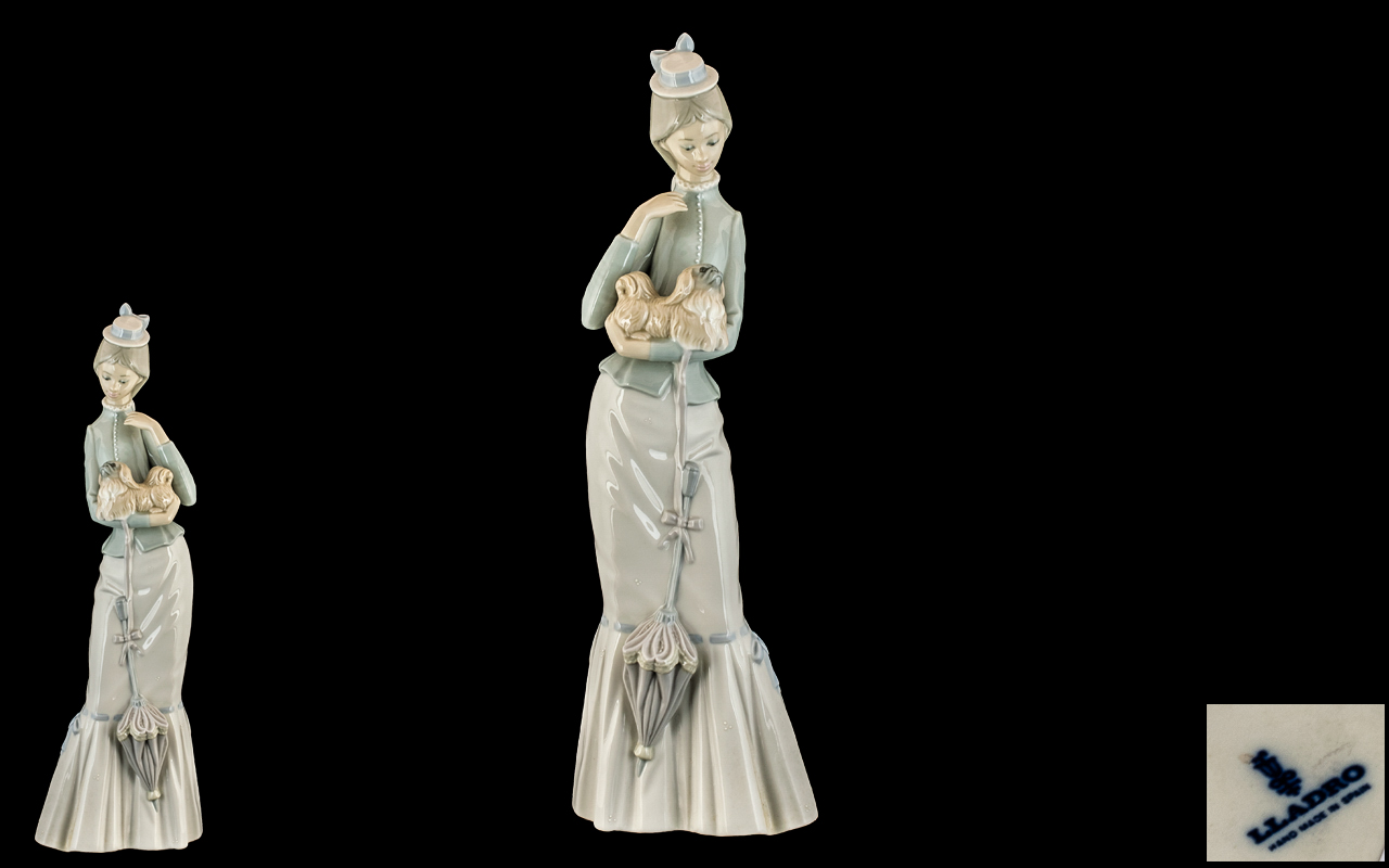 Lladro - Tall Elegant Hand Painted Porcelain Figure ' Walk with the Dog ' Model No 4893.