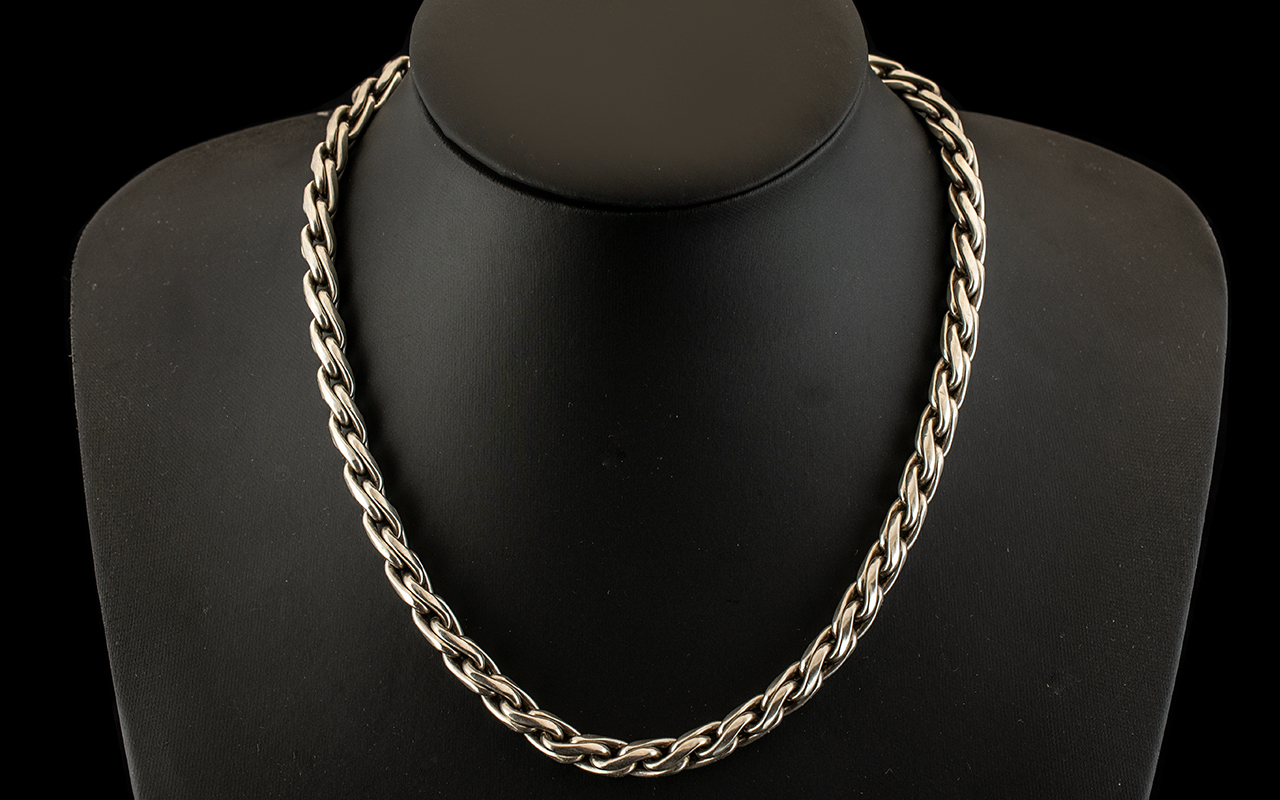 A Sterling Silver Well Made and Excellent Quality Double Link Twist Necklace / Chain of Solid