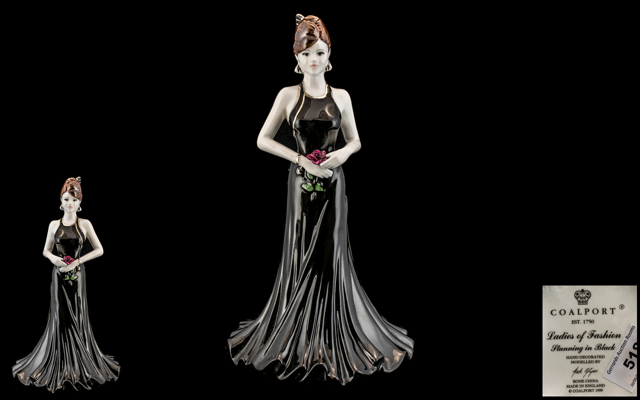 Coalport - Fine Bone China Exclusive Hand Painted Figurine ' Ladies of Fashion ' Stunning In Black