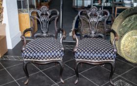 Pair of Carved Mahogany Edwardian Armchairs, in the Queen Anne style,