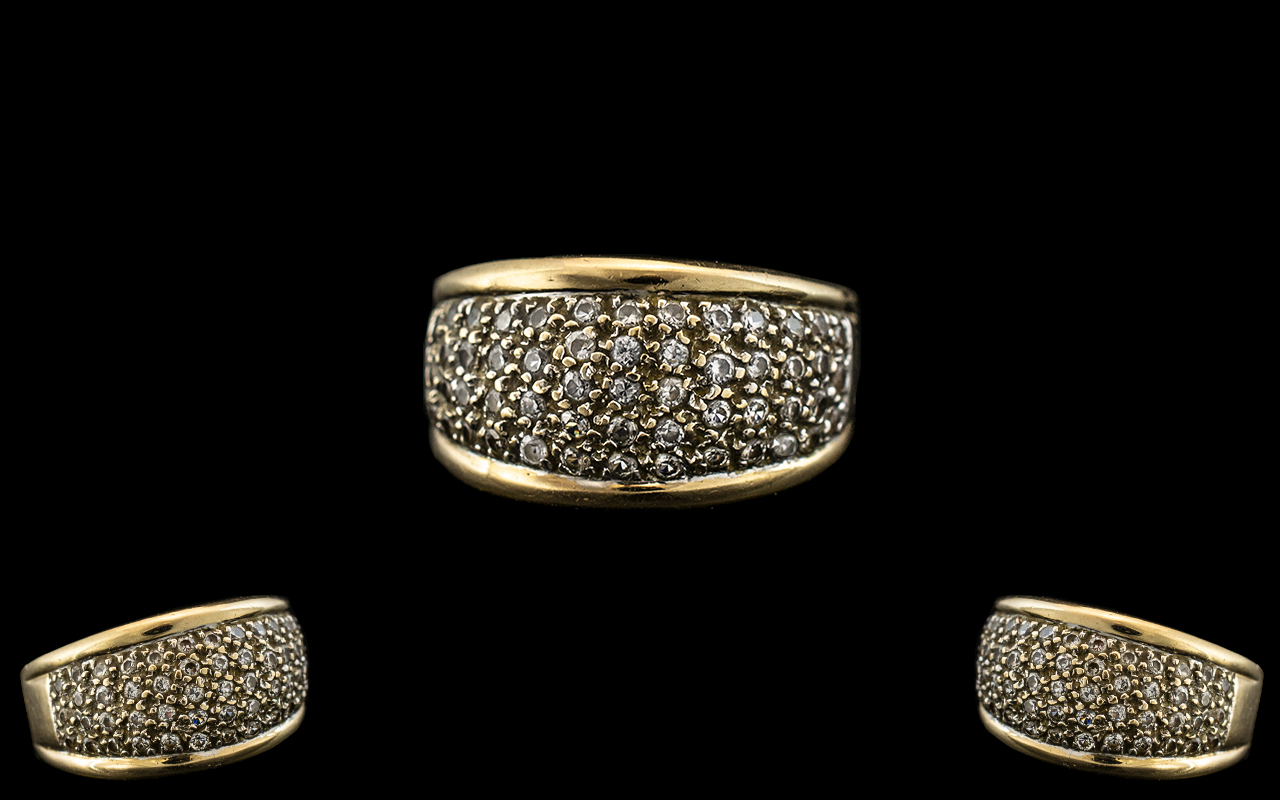 Ladies 9ct Gold Diamond Set Ring. Fully Hallmarked to interior of Shank for 9.375.