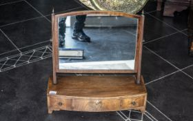 Sheraton Period Mahogany Inlaid Bow Fronted Toilet Mirror with three drawers with stringing,