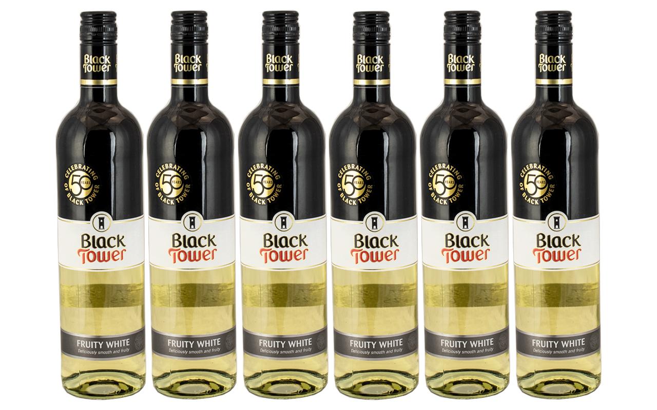 Black Tower ( Six ) Bottles of Fruity White Wine.