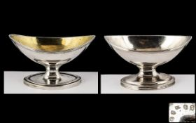 Two Georgian Silver Boat Shaped Salts, one dated London 1789, the other London 1794,