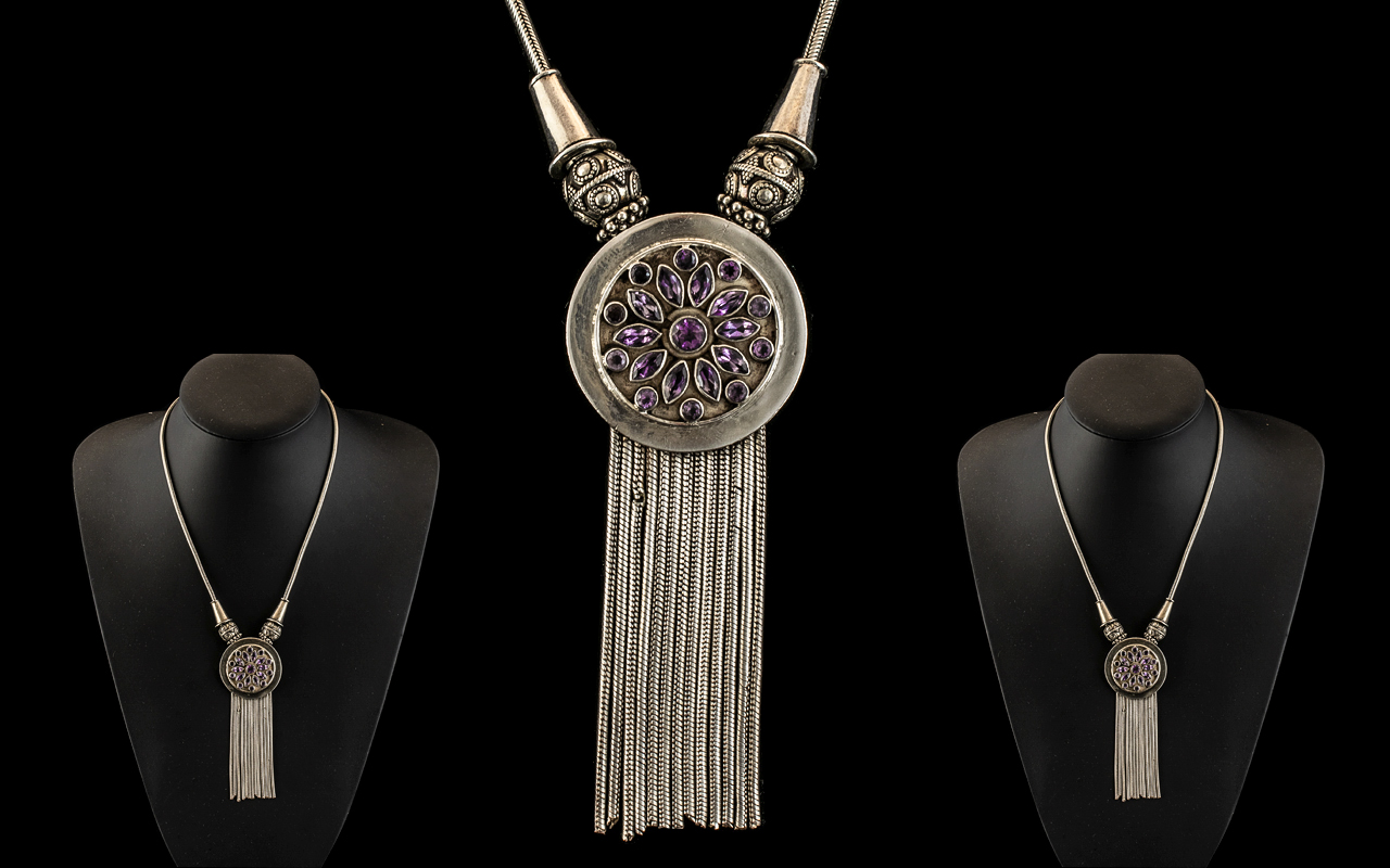 Antique Period - Superb and Well Made Persian Pale Amethyst Set - Sterling Silver Necklace -