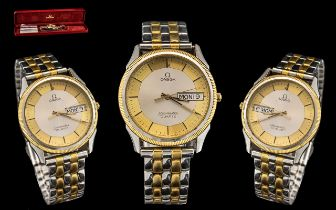 Omega - Seamaster Quartz Gents Gold and Stainless Steel Wrist Watch. c.1980's. Model No 1425.