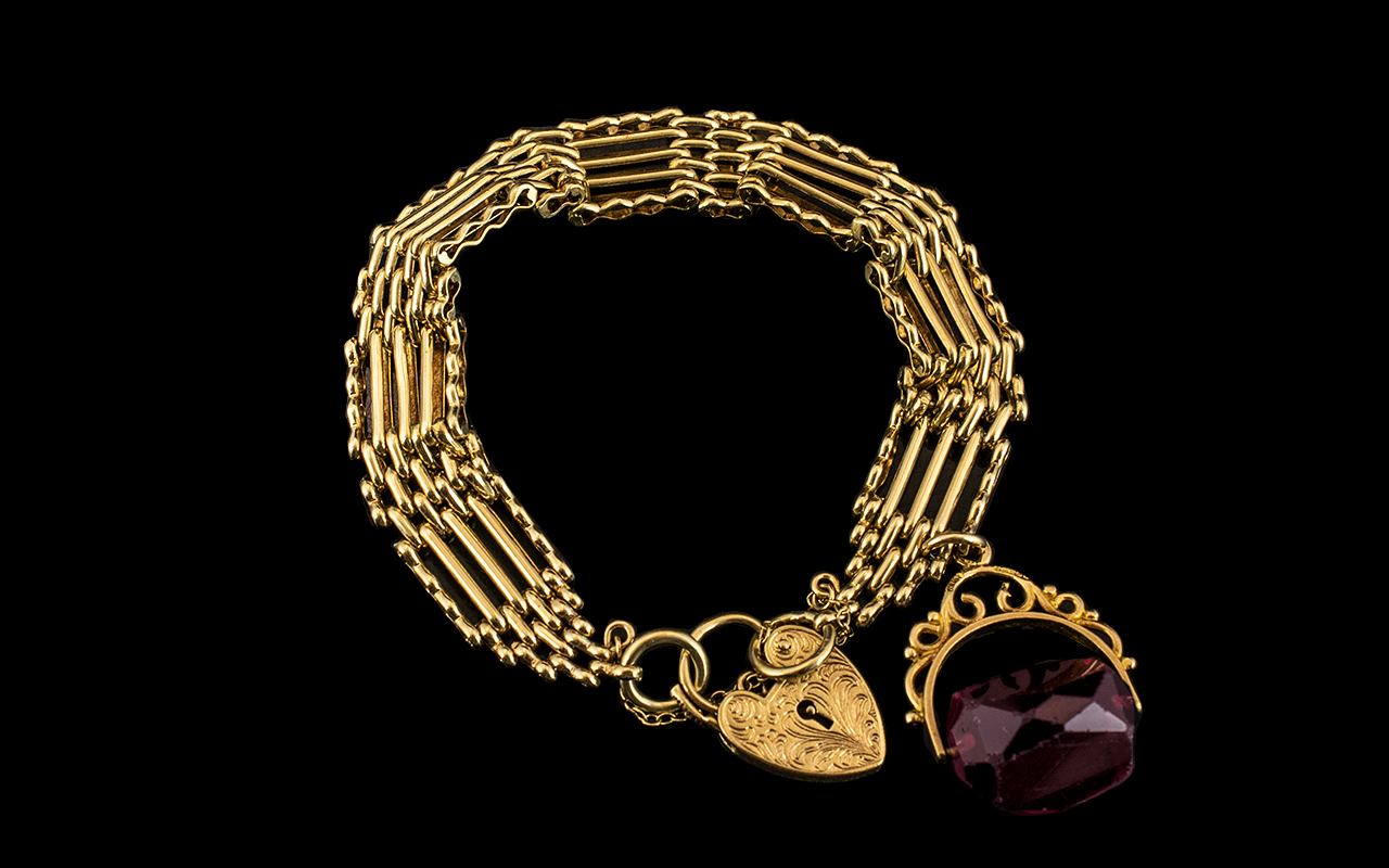 Antique Period 9ct Gold - Fancy 5 Bar Gate Bracelet with Heart Shaped Padlock and Safety Chain (