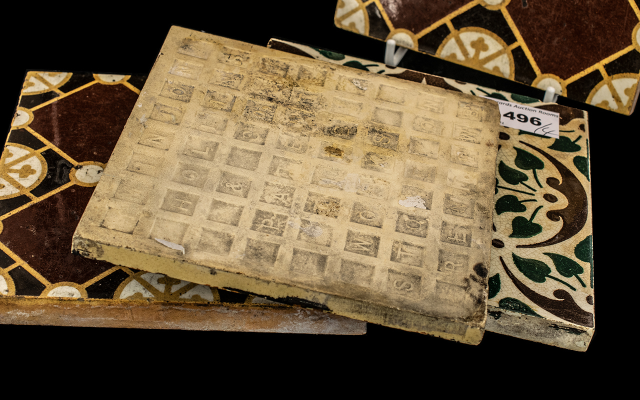 Four Pugin Style Antique Pottery Tiles, c1860s, makers - E. Smith & Co.,Coalville, M.E. - Image 2 of 2