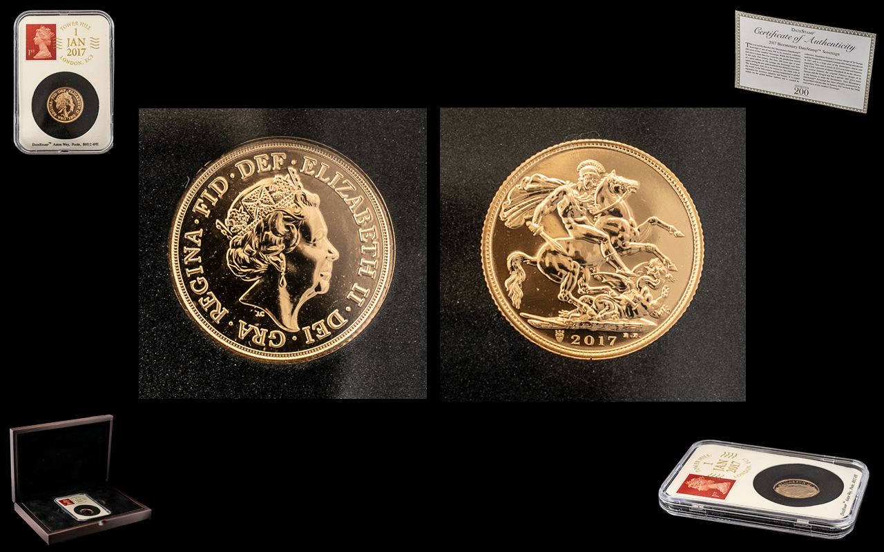 Royal Mint - United Kingdom 2017 22ct Gold Bicentenary Date Stamp Sovereign. Weight 7.