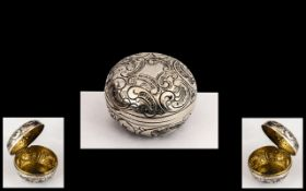 Silver Pill Box. Lovely silver pill box with scroll swirls, quality with gold gilt to interior.