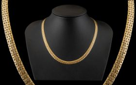 14ct Yellow Gold - Fine Quality / Attractive Basket Weave Design Necklace. Marked 14ct.