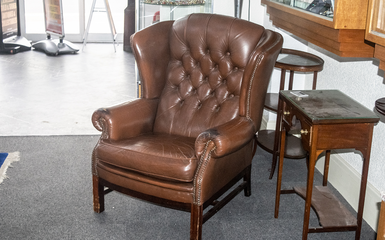 Gents Wing Back Chesterfield Armchair in brown, with lovely age patination, wear to arms and small - Image 2 of 2