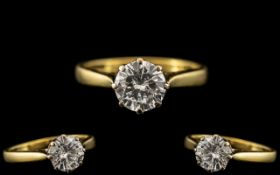 18ct Gold - Ladies Single Stone Diamond Set Ring. Marked 18ct - 750 to Interior of Shank.