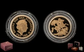Royal Mint United Kingdom Ltd and Numbered 22ct Gold 2018 Proof Struck Sovereign. Weight 7.