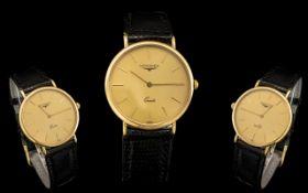 Gentleman's 9ct Gold Longines Wrist Watch, 32mm diameter 9ct gold case,