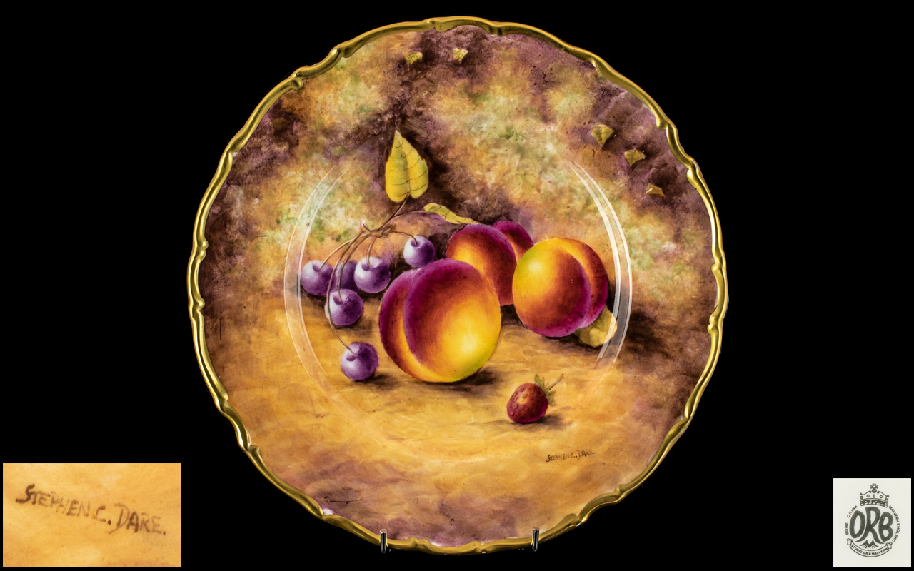 Royal Worcester Ex Artist Signed and Hand Painted Superb Quality Fallen Fruits Cabinet Plate '