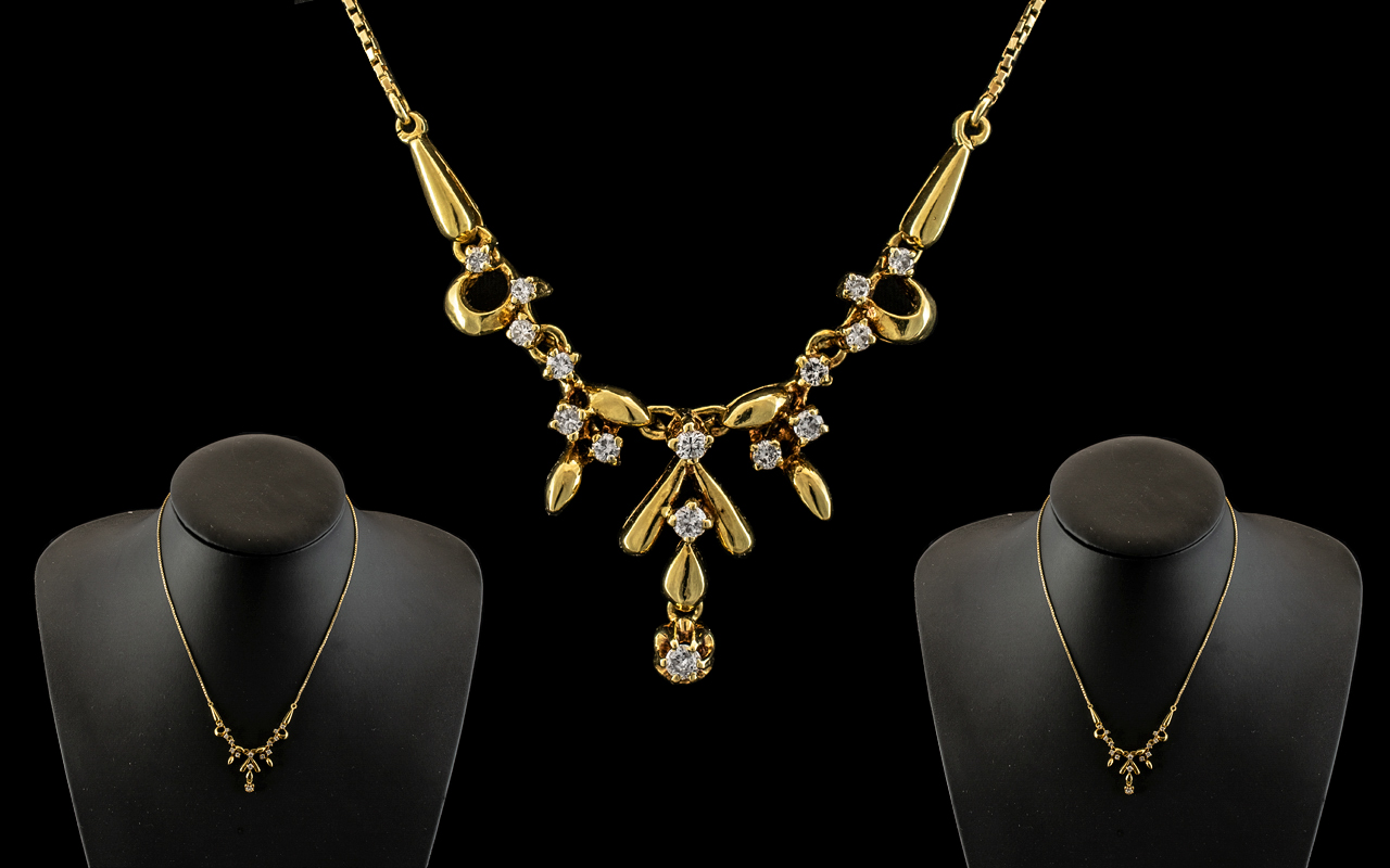 18ct Yellow Gold - Attractive Diamond Set Ornate Pendant Drop with Attached 9ct Gold Later Chain.