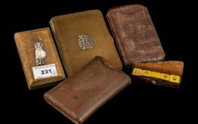 Two Leather Cigar Cases, oak desk weight with embossed silver owl to the top,